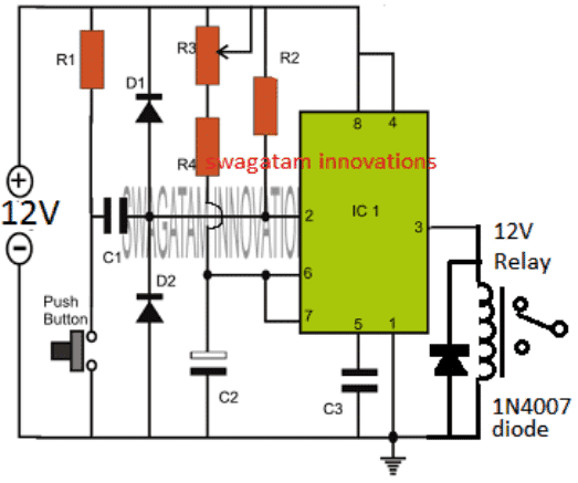 simple IC 555 one shot timer circuit using push button and relay