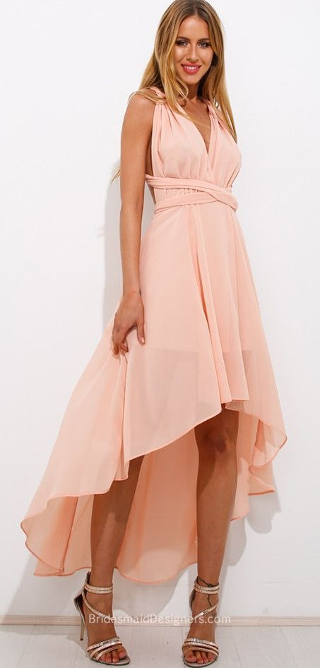 V-neck Crisscross Tie Back Blush Chiffon High-low Bridesmaid Dress