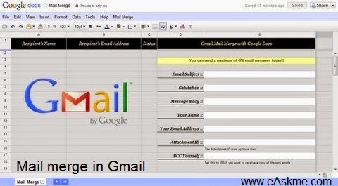Mail merge in Gmail : eAskme