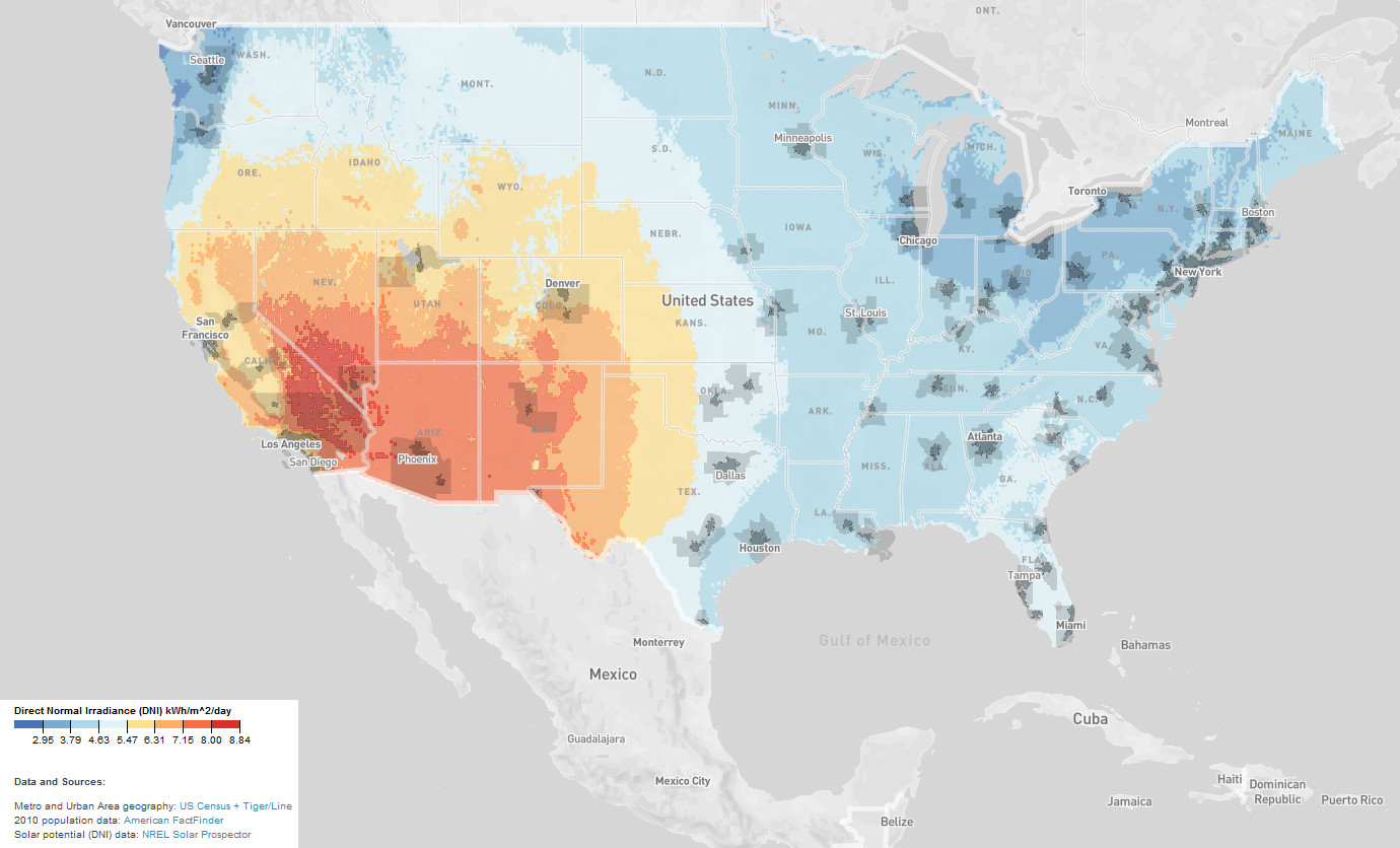 Urban solar energy potential in the U.S.