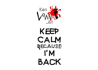 ken law dot art logo and keep calm I'm back black crayon letters