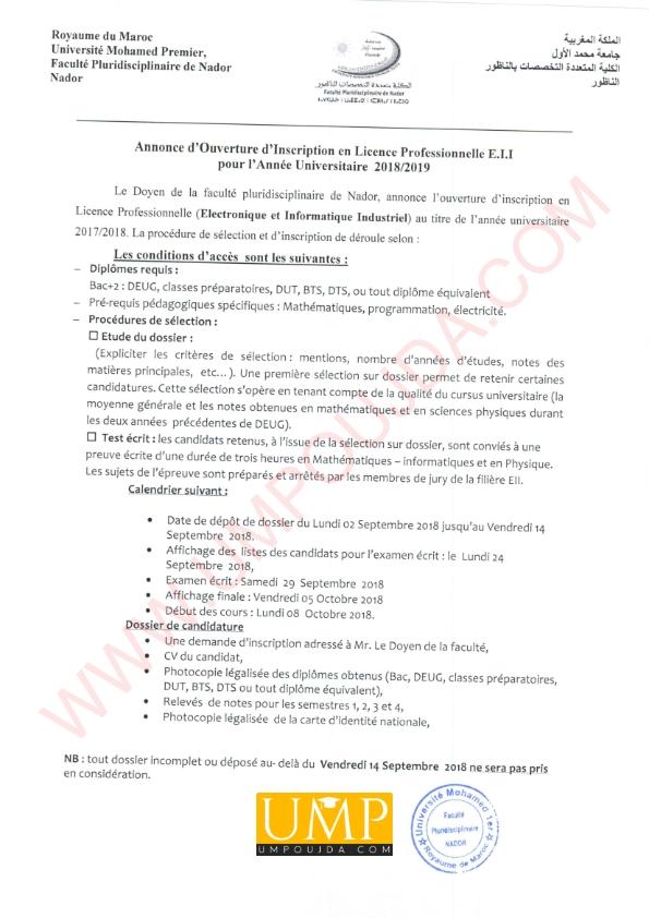 FPN : LP Électronique et Informatique Industriel 2018/2019