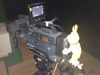 Pom Bear setting up some Studio Cameras
