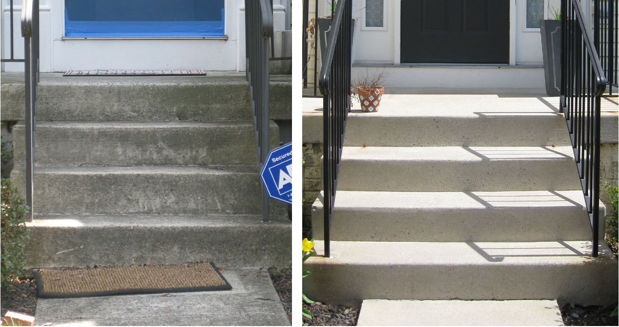 front porch steps from dirty to clean - easy curb appeal tips