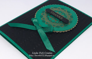 Linda Vich Creates: Make A Medallion Thank You. A rich color scheme of Basic Black, Emerald Envy and Gold is combined with the Make A Medallion stamp set for this thank you card.
