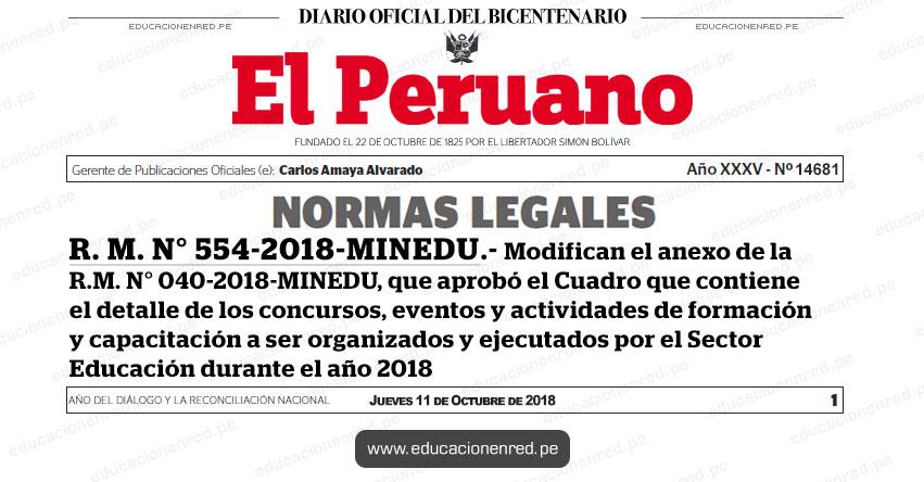 R. M. N° 554-2018-MINEDU - Modifican el anexo de la R.M. N° 040-2018-MINEDU, que aprobó el Cuadro que contiene el detalle de los concursos, eventos y actividades de formación y capacitación a ser organizados y ejecutados por el Sector Educación durante el año 2018 - www.minedu.gob.pe