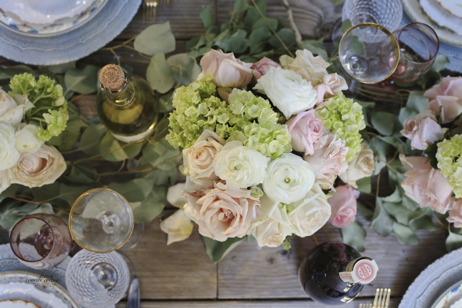 Flowers and place setting elements on rustic tabletop & Mix \u0026 Mingle~ Vintage place settings - FRENCH COUNTRY COTTAGE