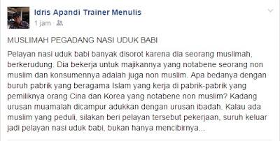 Tanggapan Muslimah Penjaga Nasi Uduk Babi Buncit.