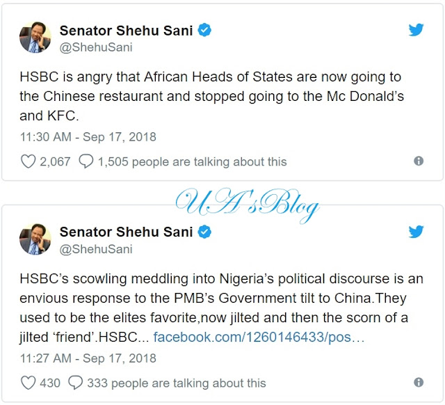 HSBC envious of Buhari's govt tilt to China – Shehu Sani