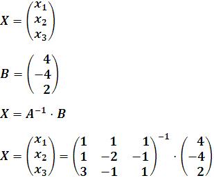 Expresión de la matriz solución X, en función de la matriz inversa de A y el vector B