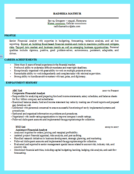 sample - Excellent Resume Templates