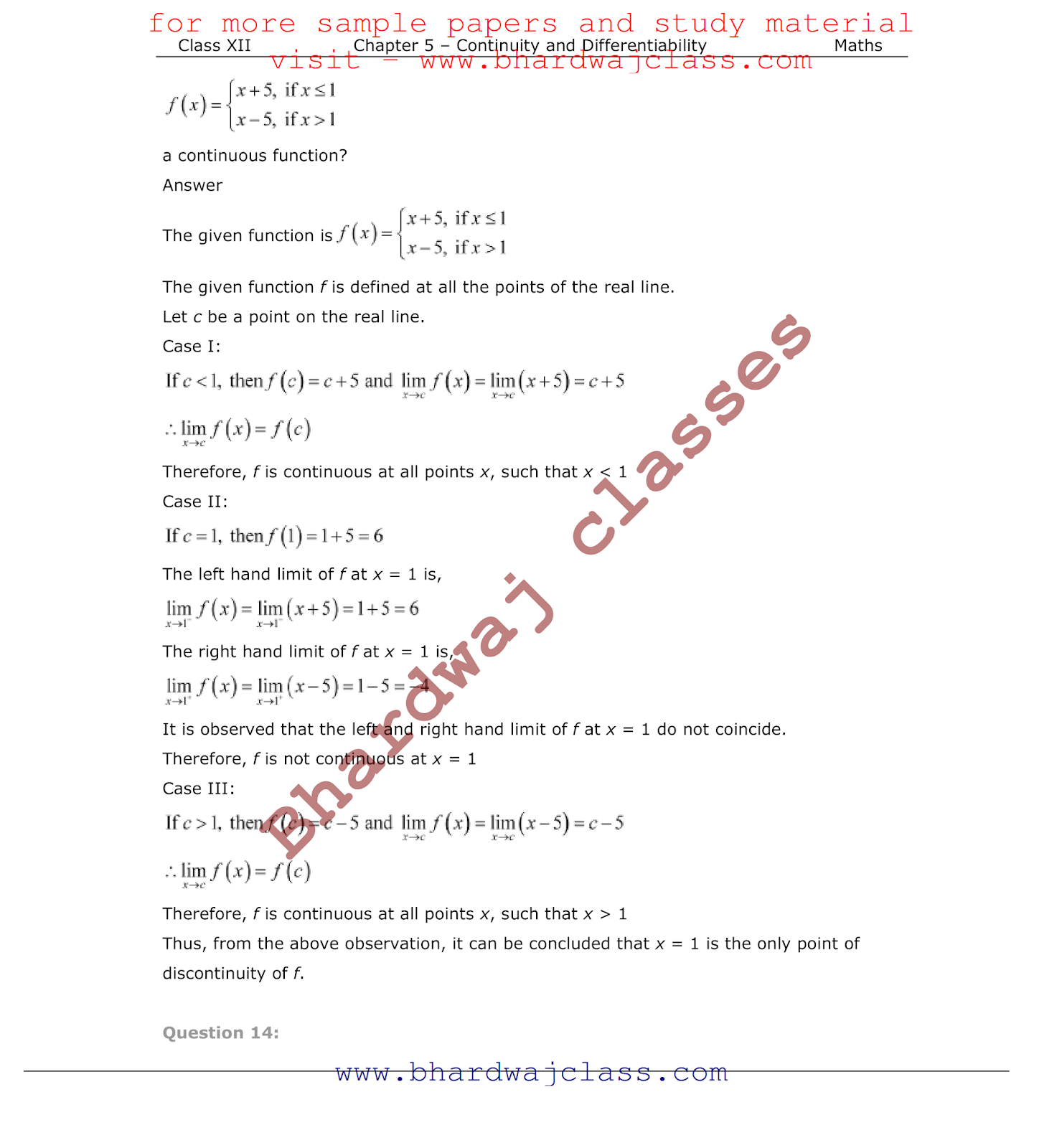 Class 12 Maths NCERT Solutions Chapter-5