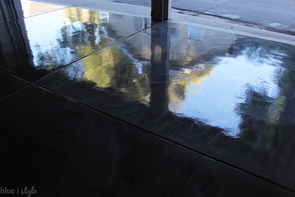 Reflections in metallic garage floor finish