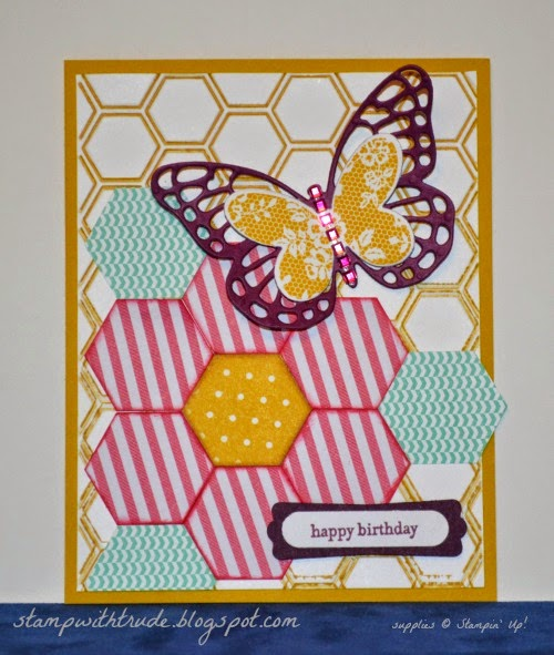 Teeny Tiny Wishes, Stampin' Up!, stampwithtrude.blogspot.com, Trude Thoman, butterfly thinlits, butterfly basics, hexagon punch, quilt birthday card, #stampinup