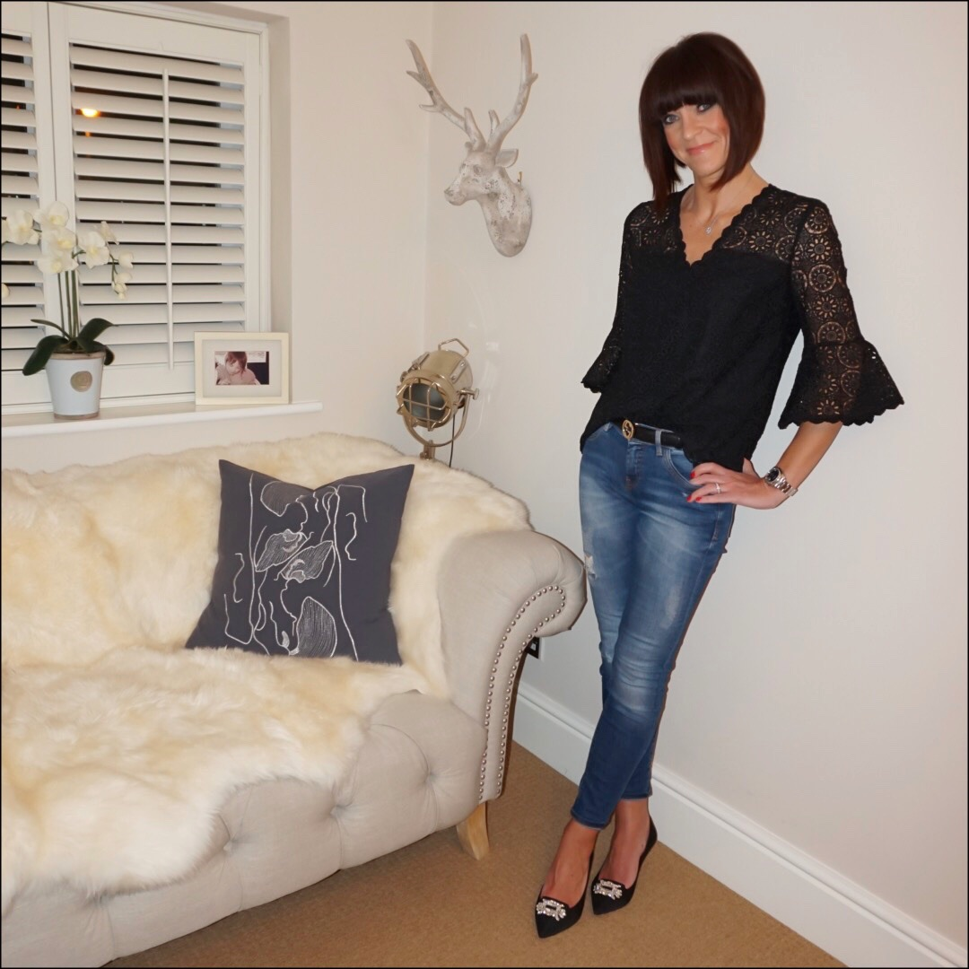 my midlife fashion, somerset by alice temperely lace fluted sleeve blouse, zara distressed skinny jeans, gucci logo belt, kurt geiger pia court shoes