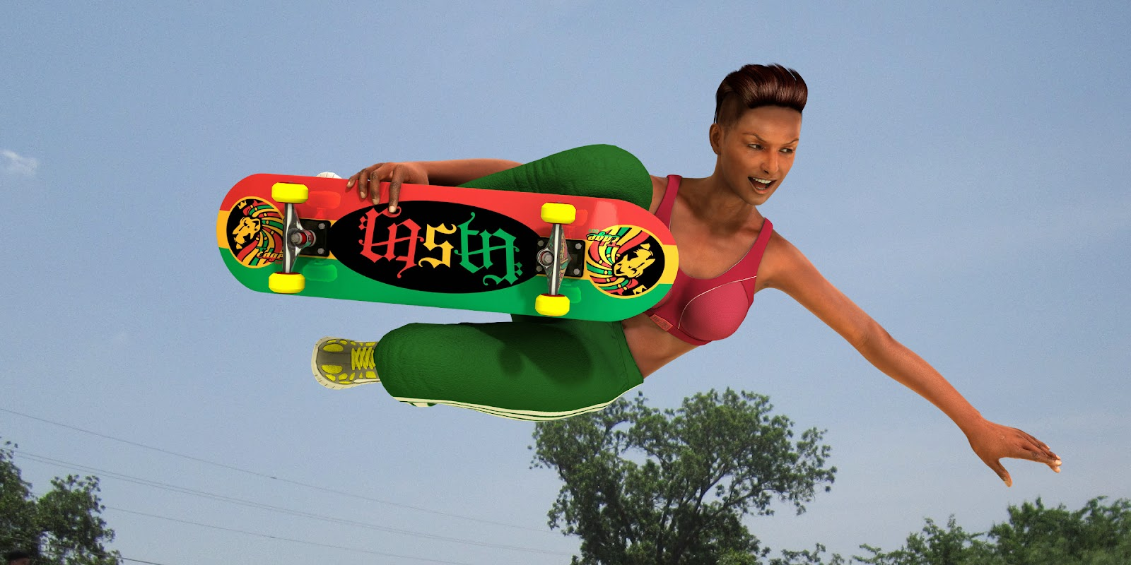 The Word Rasta Skateboard: The NeverWrong Ambigram Rasta Skateboard reads both ways.