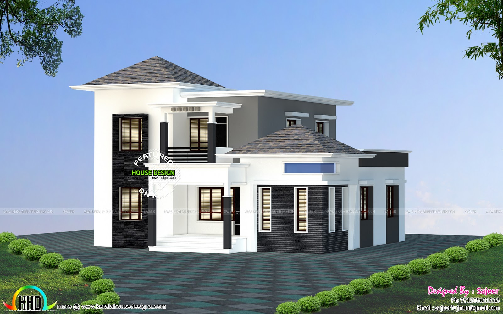 Low budget villa all side view kerala home design and for Home design front side