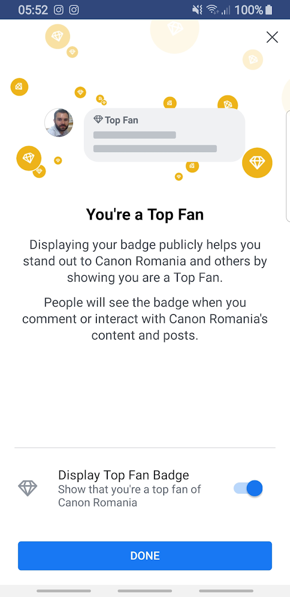 Facebook new Top Fan page badge