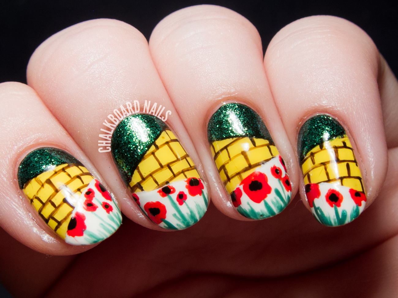 The Wonderful Wizard of Oz nail art by @chalkboardnails