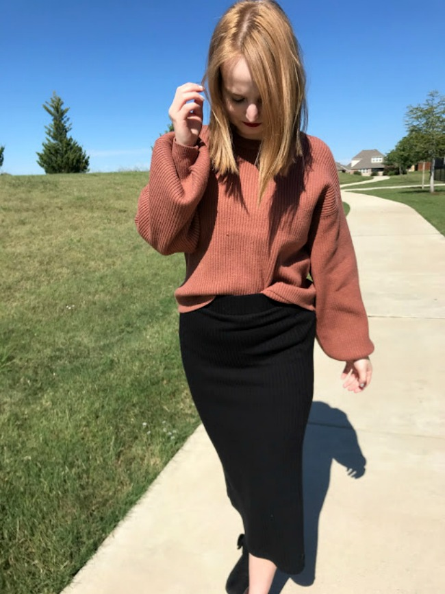 Balloon Sleeve Sweater And Pencil Skirt Autumn Outfit
