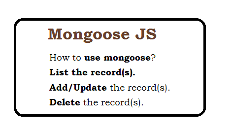 mongoose tutorial - listing records, Add Record, update record  and delete record