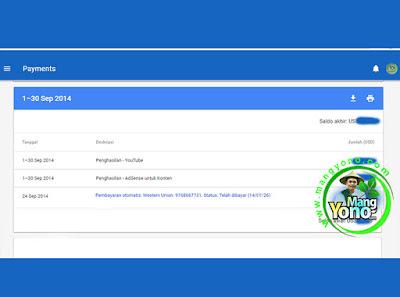 Pembayaran Google Adsense Bulan September 2014.