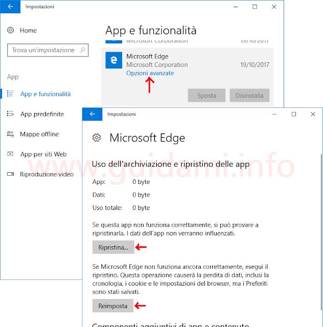 Impostazioni Windows 10 per resettare Microsoft Edge
