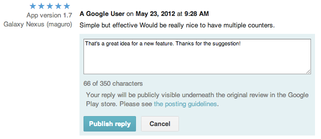 developer reply on google play store