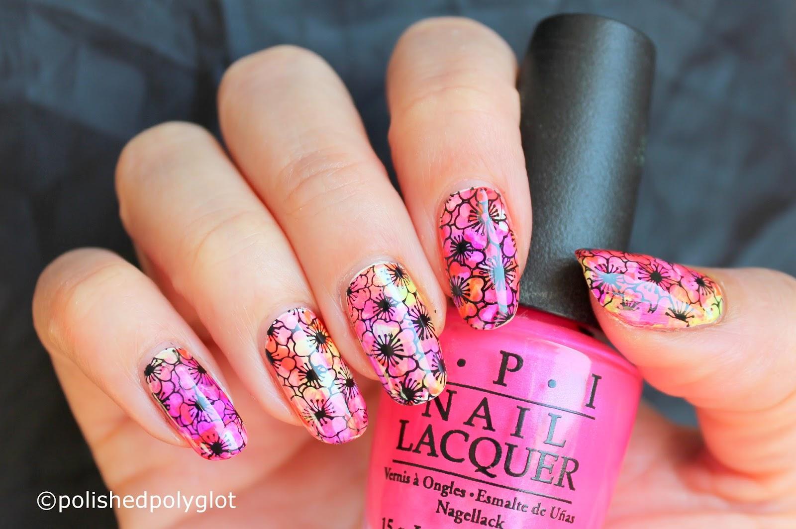 Nail Art │ \'Smoosh\' Neon Floral manicure [Nail crazies Unite ...