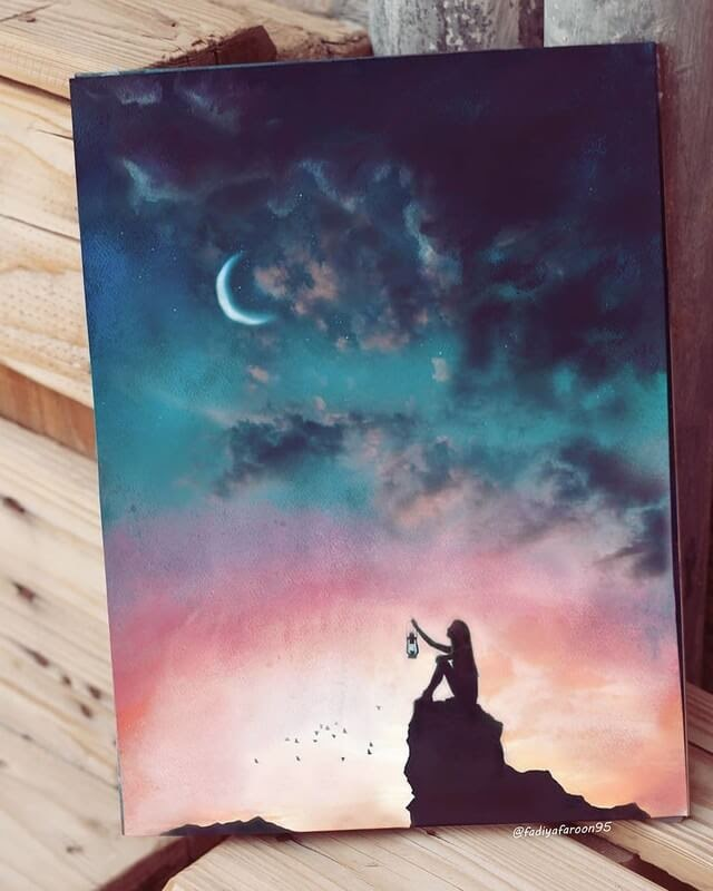 06-When-the-moon-smiles-Fadiya-faroon-Draw-and-Paint-in-Fantasy-Landscapes-www-designstack-co