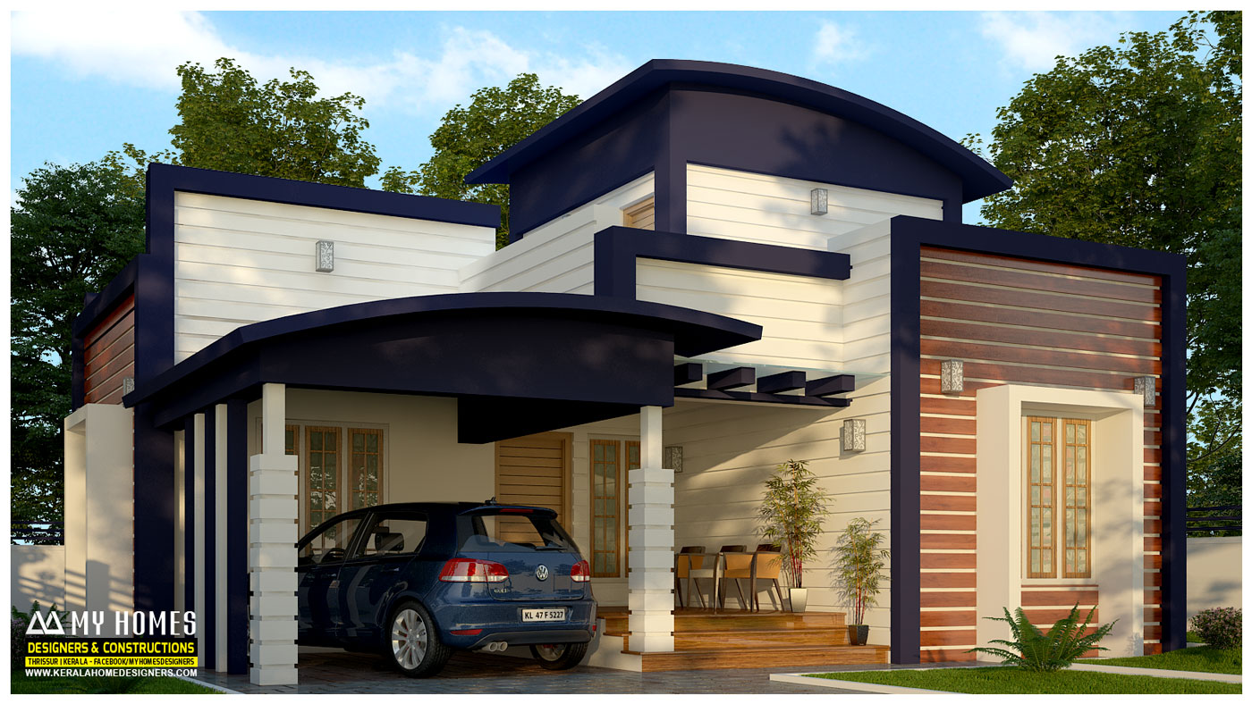 Stunningly designed 1430 sqft low cost 3 bedroom modern for Low cost house plans with photos