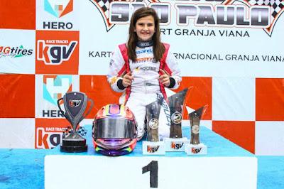 Antonella Bassani conquistou pódios nas categorias Mini Max e Rotax Junior Foto: Jackson de Souza