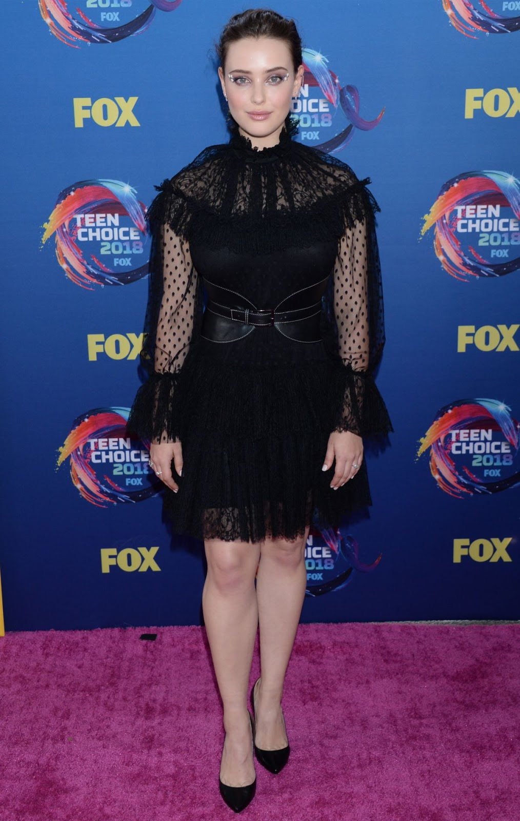 Katherine Langford goes gothic chic at the 2018 Teen Choice Awards