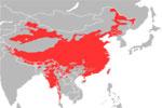 Mapa de localización de las lenguas monosilábicas