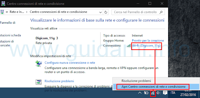 Apri Centro connesisoni di rete e condivisione Windows 10