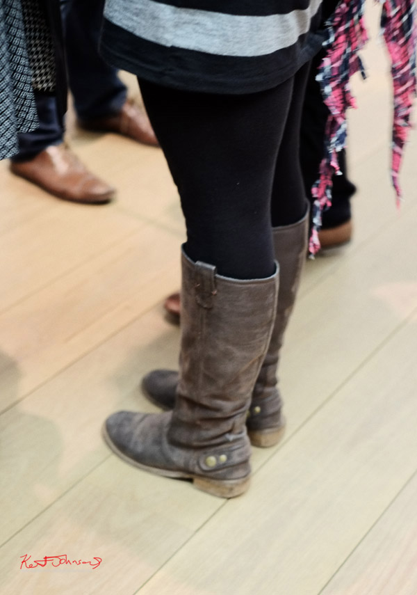 Brown leather biker boots, in woman's style.