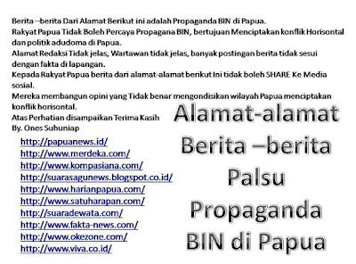 Media Propaganda Indonesia oleh BIN, Rakyat Papua Dilarang Membaca dan Berbagi dari Sumber Media Berikut ini