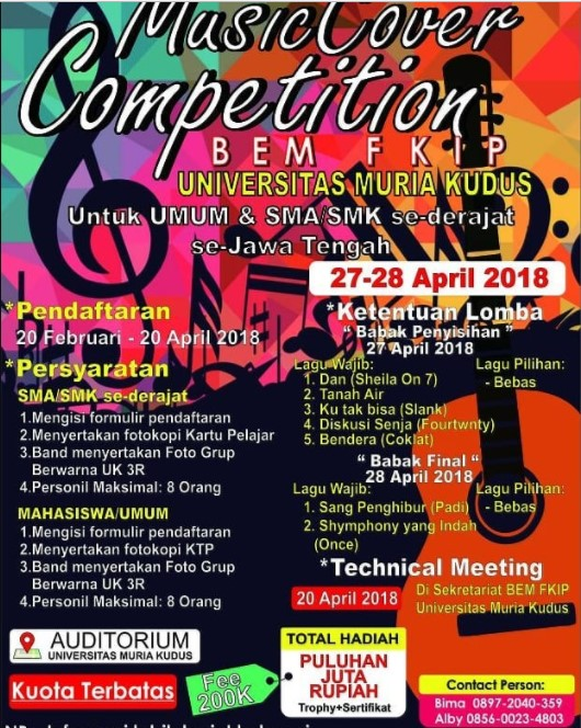 Lomba Cover Music Competition April 2018 Univ. Muria Kudus