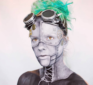 how to steampunk makeup guide DIY robot automaton glue on gears body paint
