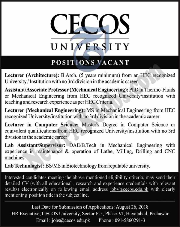 CECOS University Peshawar, Latest Today jobs