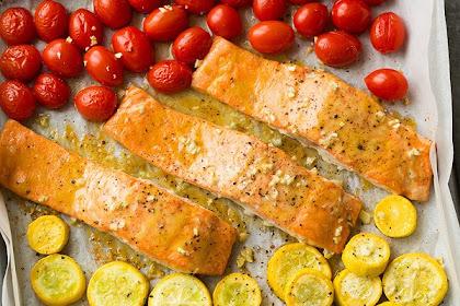 Sheet Pan Honey Mustard Salmon and Rainbow Veggies