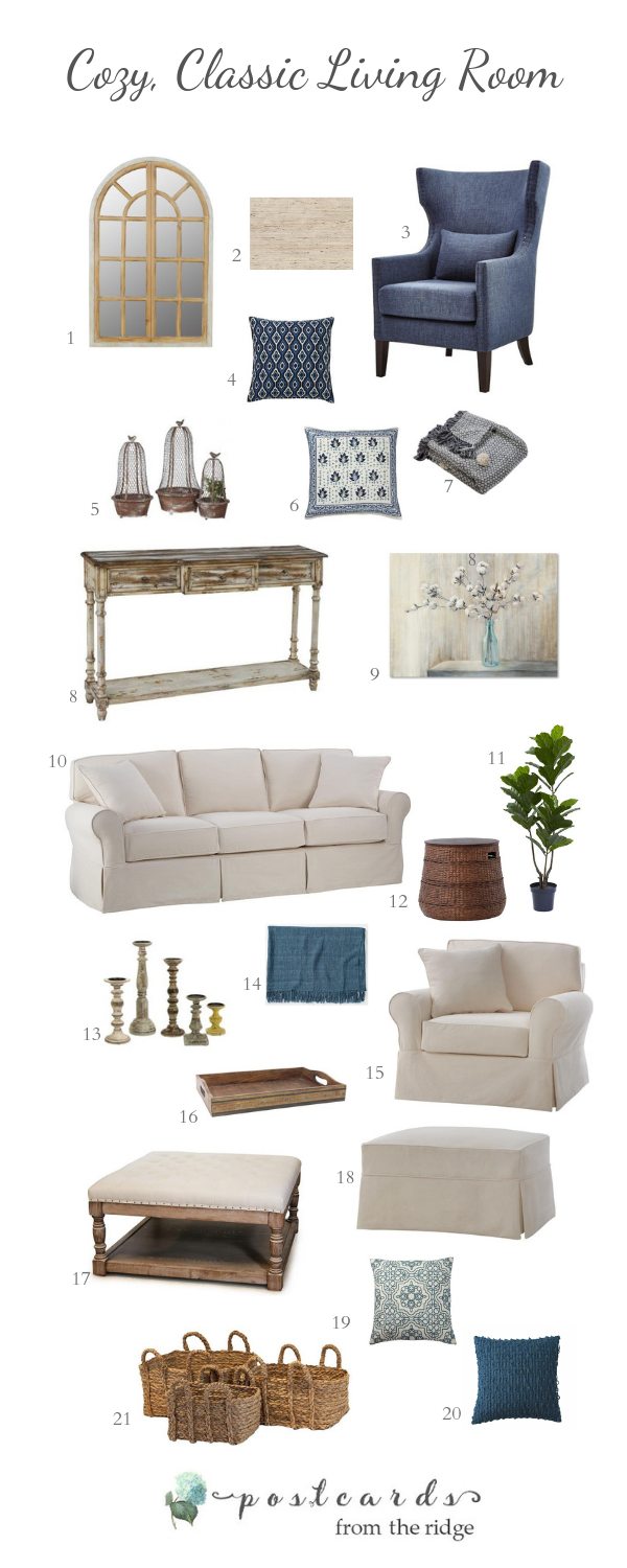 living room decor with slipcovered furniture and casual accents