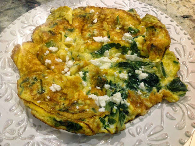 omelet with fresh herbs and feta