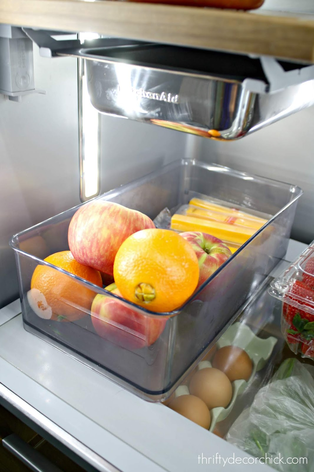 Keep healthy snacks out in fridge
