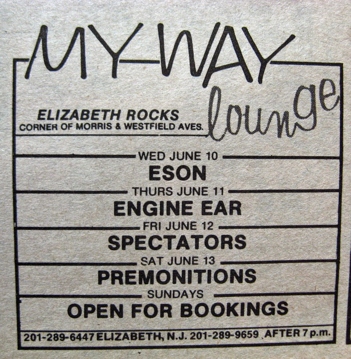 My Way Lounge band line up 1981