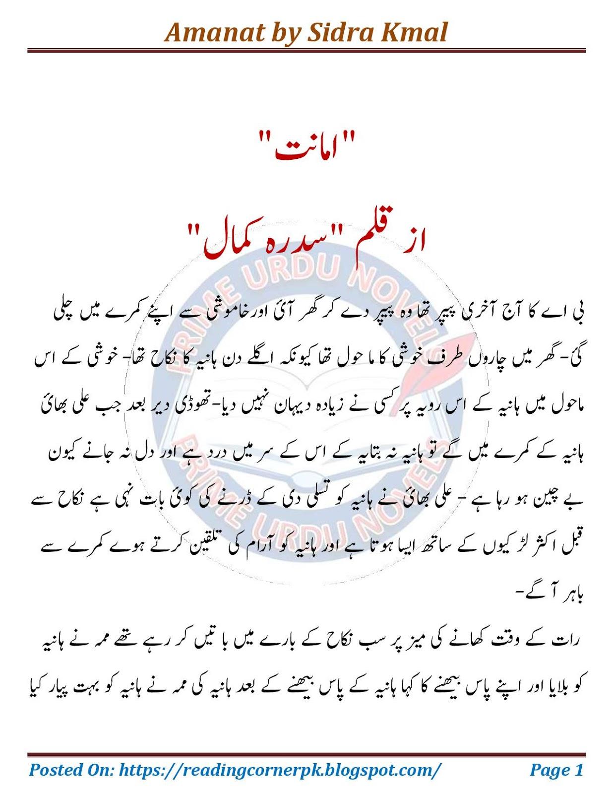 Amanat By Sidra Kmal Kidnapping Based Urdu Novel   Kitab Library