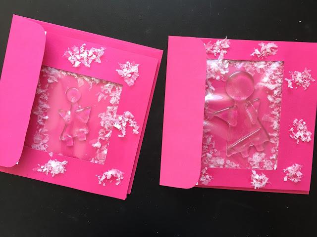 Glas Engel Weihnachtskarten pink