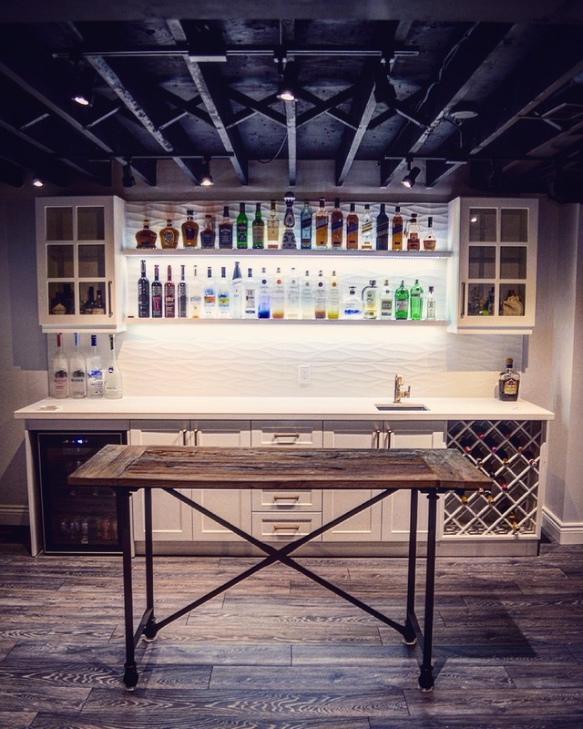 custom walk up wet bar in basement