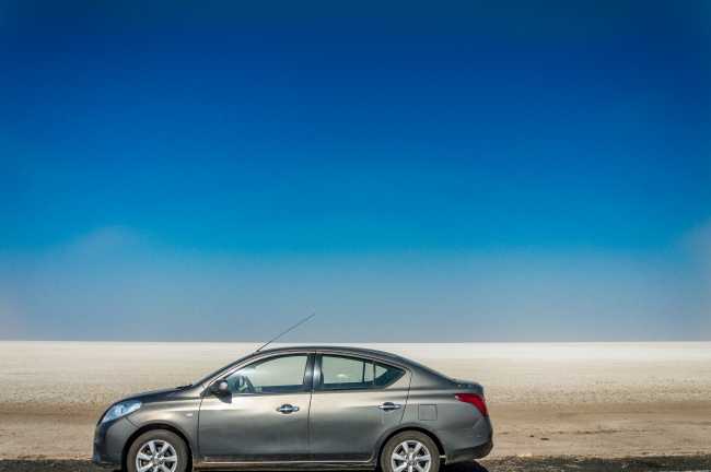 Our car at Rann of Kutch Lake