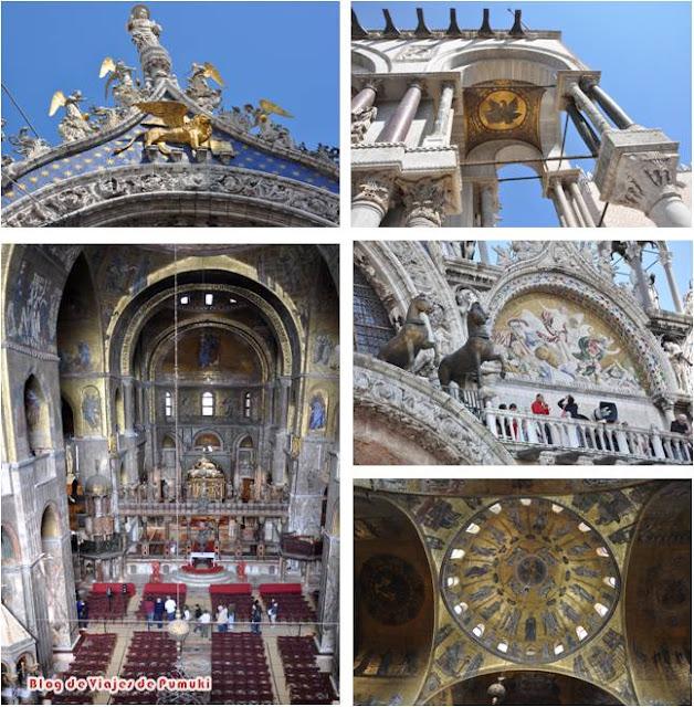Basílica de san Marcos. Detalles exteriores y vista interior
